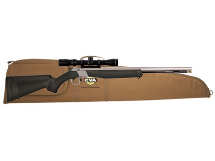 CVA Wolf Muzzleloading Rifle 50 Caliber with KonusPro 3-9 x 40mm Scope and Soft Case Black and Stainless Steel