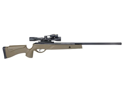 Gamo Varmint Hunter HP Air Rifle 22 Caliber Olive Drab Synthetic Stock Blue Barrel with Gamo Airgun Scope 4x 32mm Matte Light and Laser