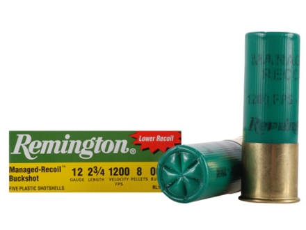 "Remington Managed-Recoil Express Ammunition 12 Gauge 2-3/4"" 00 Buckshot 8 Pellets Box of 5"