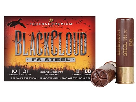 "Federal Premium Black Cloud Ammunition 10 Gauge 3-1/2"" 1-5/8 oz #2 Non-Toxic FlightStopper Steel Shot"