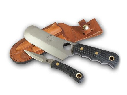Knives of Alaska Brown Bear Combination Fixed Blade Hunting Knife Set Rubber Handles Black with Brown Bear Skinner/Cleaver Knife, Cub Bear Caping Knife, Sharpening Steel and Leather Sheath