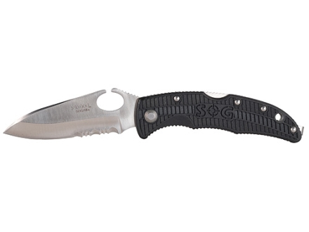 "SOG SOGzilla Small Folding Tactical Knife 3-1/4"" Serrated Drop Point 8Cr13MoV Stainless Steel Blade GRN Handle Black"