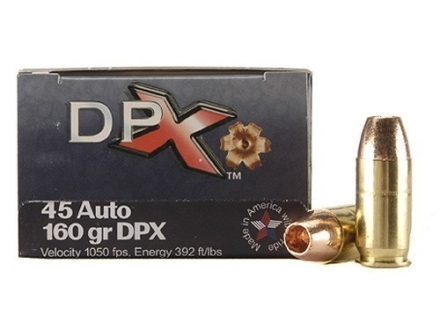 Cor-Bon DPX Ammunition 45 ACP 160 Grain DPX Hollow Point Lead-Free Box of 20