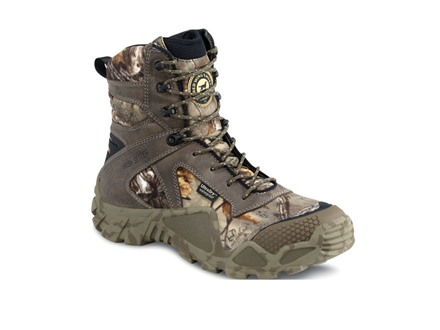"""Irish Setter VaprTrek 8"""" Waterproof Uninsulated Hunting Boots Nylon and Leather Brown and Realtree Xtra Camo"""