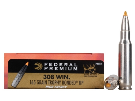 Federal Premium Vital-Shok Ammunition 308 Winchester 165 Grain Trophy Bonded Tip High Energy Box of 20
