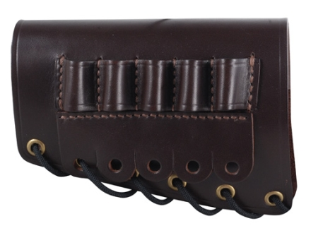 Galco Rifle Cheek Rest Left Hand with 30-06 Rifle Ammunition Carrier 5-Round Leather Dark Havana