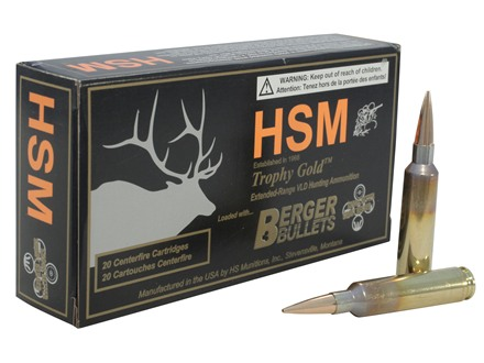 HSM Trophy Gold Ammunition 6.5mm-284 Norma 140 Grain Berger Hunting VLD Hollow Point Boat Tail Box of 20
