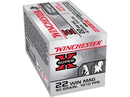 Winchester Super-X Ammunition 22 Winchester Magnum Rimfire (WMR) 40 Grain Jacketed Hollow Point Box of 250 (5 Boxes of 50)