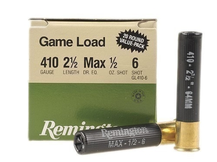 "Remington Game Load Ammunition 410 Bore 2-1/2"" 1/2 oz #6 Shot Box of 20"