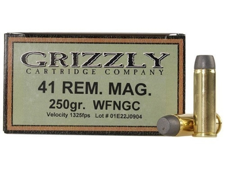 Grizzly Ammunition 41 Remington Magnum 250 Grain Cast Performance Lead Wide Flat Nose Gas Check Box of 20