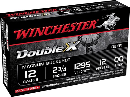 "Winchester Supreme Double X Magnum Ammunition 12 Gauge 2-3/4"" Buffered 00 Copper Plated Buckshot 12 Pellets Box of 5"