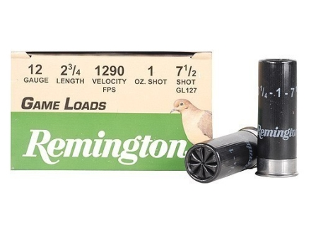 "Remington Game Load Ammunition 12 Gauge 2-3/4"" 1 oz #7-1/2 Shot Box of 25"