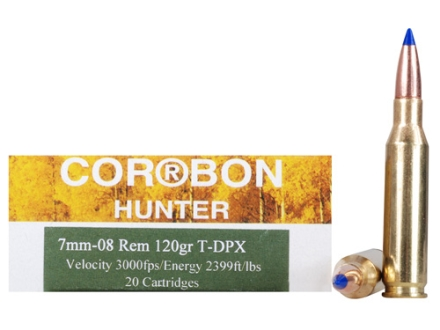 Cor-Bon DPX Hunter Ammunition 7mm-08 Remington 120 Grain Barnes Tipped Triple-Shock X Bullet Hollow Point Lead-Free Box of 20