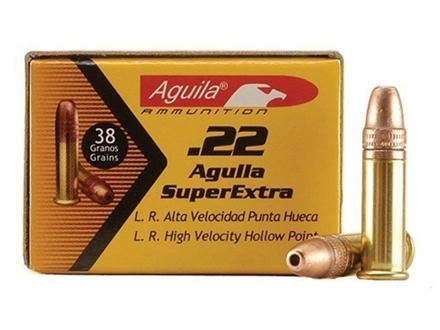 Aguila High Velocity Ammunition 22 Long Rifle 38 Grain Plated Lead Hollow Point