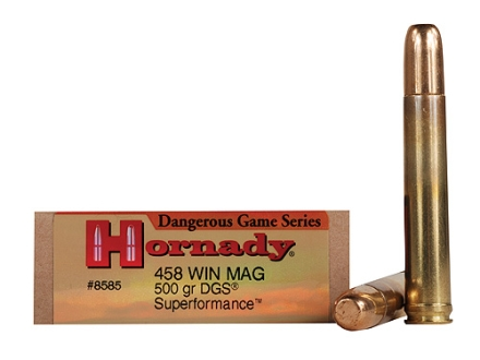 Hornady Dangerous Game SUPERFORMANCE Ammunition 458 Winchester Magnum 500 Grain Solid Round Nose Box of 20