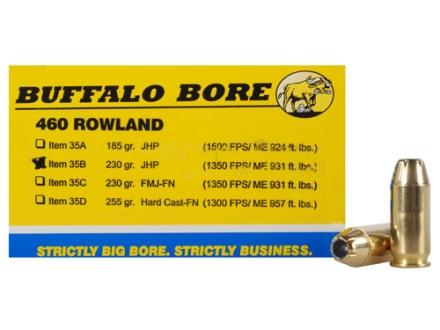 Buffalo Bore Ammunition 460 Rowland 230 Grain Jacketed Hollow Point Box of 20