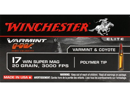 Winchester Varmint High Velocity Ammunition 17 Winchester Super Magnum 20 Grain Hornady V-Max Case of 500 (10 Boxes of 50)