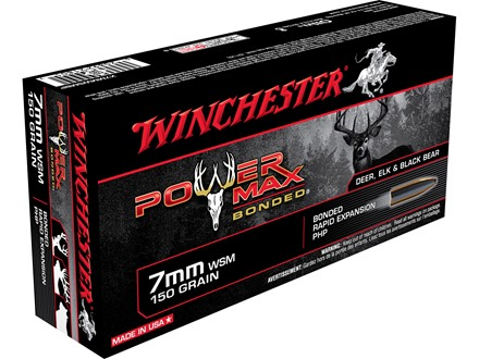 Winchester Power Max Bonded Ammunition 7mm Winchester Short Magnum (WSM) 150 Grain Protected Hollow Point