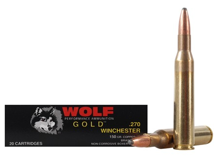 Wolf Gold Ammunition 270 Winchester 150 Grain Soft Point Box of 20