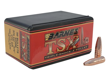 Barnes Triple-Shock X Bullets 375 Caliber (375 Diameter) 270 Grain Hollow Point Flat Base Lead-Free Box of 50