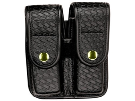 Bianchi 7902 AccuMold Elite Double Magazine Pouch Single Stack 9mm, 45 ACP Brass Snap Basketweave Trilaminate Black
