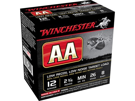 "Winchester AA Low Recoil Target Ammunition 12 Gauge 2-3/4"" 7/8 oz #8 Shot"