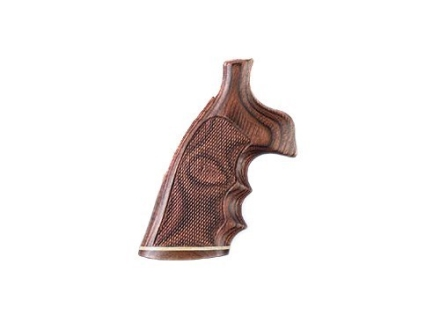 Hogue Fancy Hardwood Conversion Grips with Accent Stripe, Finger Grooves and Contrasting Butt Cap S&W N-Frame Round to Square Butt Checkered Rosewood Laminate