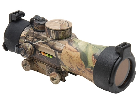 TRUGLO Xtreme Red Dot Sight 42mm Tube 2x Red and Green 4-Pattern Reticle (10 MOA Dot, Crosshair with 1.5 MOA Peep, 3 MOA Center Dot, Crosshair) with Integral Weaver-Style Base Realtree APG Camo