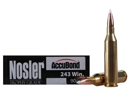 Nosler Trophy Grade Ammunition 243 Winchester 90 Grain AccuBond Box of 20