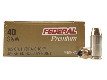 Federal Premium Personal Defense Ammunition 40 S&W 165 Grain Hydra-Shok Jacketed Hollow Point Box of 20