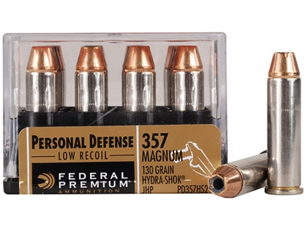 Federal Premium Personal Defense Reduced Recoil Ammunition 357 Magnum 130 Grain Hydra-Shok Jacketed Hollow Point Box of 20