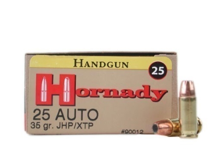Hornady Custom Ammunition 25 ACP 35 Grain XTP Jacketed Hollow Point Box of 25