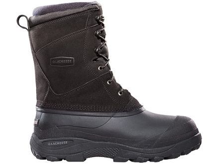 "LaCrosse Pine Top Leather/Fabric 11"" Waterproof 400 Gram Insulated Hunting Boots Leather and Rubber Black Mens 7"