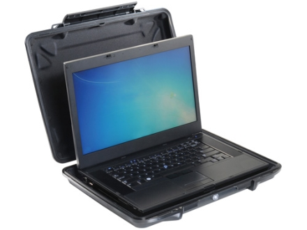"""Pelican 1095 HardBack Laptop Case with Liner and Carry Strap 15.6"""" Polymer Black"""
