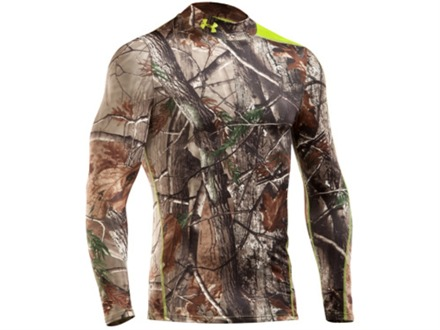 Under Armour Men's Scent Control Mock Base Layer Shirt Long Sleeve Polyester Realtree AP Camo Large 41-43