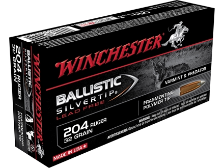 Winchester Supreme Ammunition 204 Ruger 32 Grain Ballistic Silvertip Lead-Free