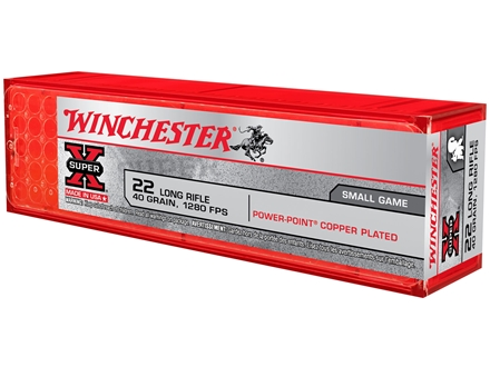 Winchester Super-X High Velocity Ammunition 22 Long Rifle 40 Grain Power-Point Lead Hollow Point Box of 100