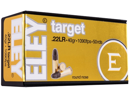 Eley Target Ammunition 22 Long Rifle 40 Grain Lead Round Nose Box of 500 (10 Boxes of 50)