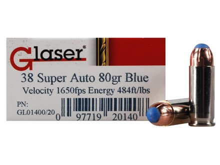 Glaser Blue Safety Slug Ammunition 38 Super 80 Grain Safety Slug Package of 20