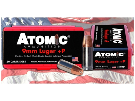 Atomic Ammunition 9mm Luger +P 124 Grain Bonded Hollow Point Box of 50