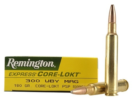 Remington Express Ammunition 300 Weatherby Magnum 180 Grain Core-Lokt Pointed Soft Point Box of 20