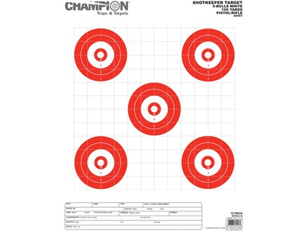 "Champion ShotKeeper 5 Large Bullseye Target 14"" x 18"" Paper White/ Red Bull Package of 12"