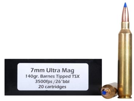 Doubletap Ammunition 7mm Remington Ultra Magnum 140 Grain Barnes Tipped Triple-Shock X Bullet Lead-Free Box of 20