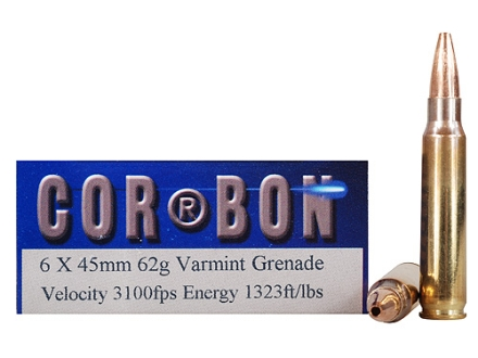 Cor-Bon Self-Defense Ammunition 6x45mm 62 Grain Barnes Varmint Grenade Hollow Point Flat Base Lead-Free Box of 20
