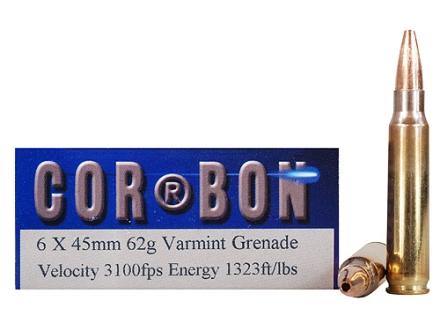 Cor-Bon Self-Defense Ammunition 6x45mm 62 Grain Barnes Varmint Grenade Hollow Point Flat Base Lead-Free Box of 20