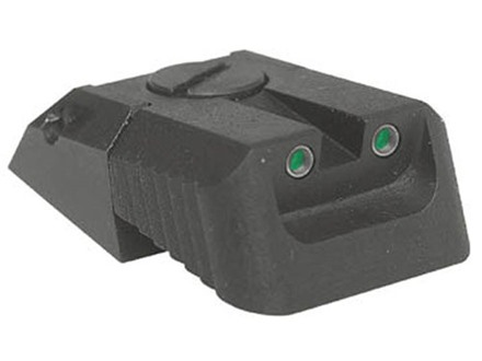 Kensight Adjustable Defensive Rear Night Sight 1911 Novak LoMount Cut Steel Black Recessed Blade with Green Tritium Dots