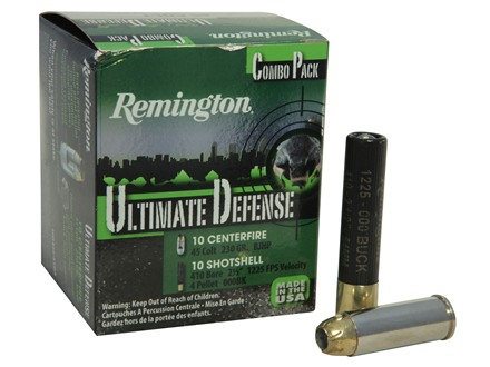"Remington HD Ultimate Defense Ammunition Combo Pack 45 Colt (Long Colt) 230 Grain Brass Jacketed Hollow Point and 410 Bore 2-1/2"" 000 Buckshot 4 Pellets Box of 20 (10 Rounds of Each)"