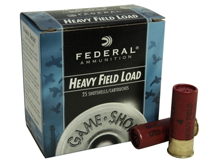 "Federal Field-Shok Heavy Game Load Ammunition 12 Gauge 2-3/4"" 1-1/4 oz #4 Shot Box of 25"