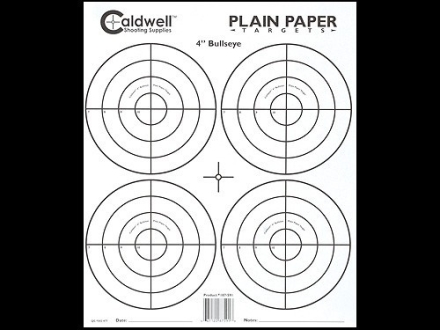 "Caldwell Plain Paper Target 4"" Bullseye Package of 25"