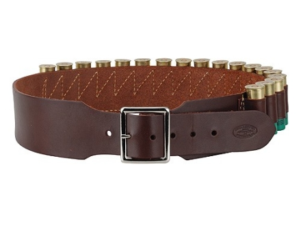 "Hunter Cartridge Belt 2-1/2"" 12 Gauge 18 Loops Leather Antique Brown XL"